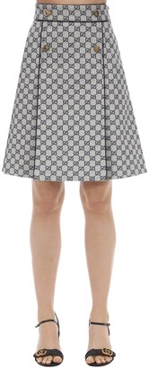 Gucci Gg Canvas A Line Skirt W/Leather Piping