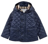 Burberry Blue Quilted Hooded Jacket