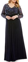 Marina Plus Illusion V-Neck Lace Gown
