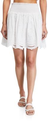 Shoshanna Smocked Eyelet Skirt