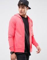 Asos Muscle Zip Up Hoodie In Pink