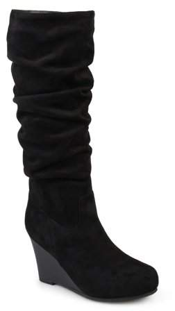 0138c78b852 Women's Wide Calf Slouchy Faux Suede Mid-calf Wedge Boots