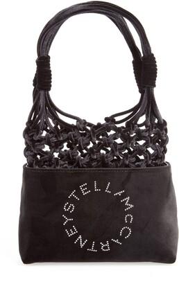 Stella McCartney Mini Crystal Logo Knotted Velvet Tote