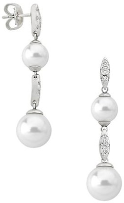 Majorica Exquisite Faux-Pearl Crystal Tiered Drop Earrings