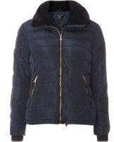 Dorothy Perkins Womens Navy Faux Fur Collar Padded Coat- Blue