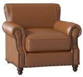 "Birch Lane Birch LaneTM Heritage Landry 23"" Club Chair Heritage Body Fabric: Steamboat Chestnut, Nailhead Detail: Old Gold Spotted"