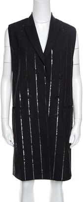 Brunello Cucinelli Grey Wool Sequin Striped Sleeveless Blazer Dress M