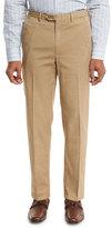 Brioni Washed Flat-Front Trousers, Khaki