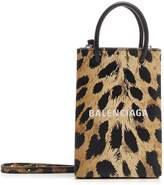 Balenciaga Leopard Printed Phone Holder