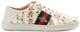 Gucci New Ace rose-print foldable-heel canvas trainers
