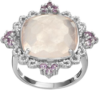 Siri Usa By Tjm SIRI USA by TJM Rose Quartz & Amethyst Sterling Silver Filigree Ring