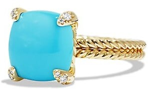 David Yurman Chatelaine Ring with Gemstone and Diamonds in 18K Gold