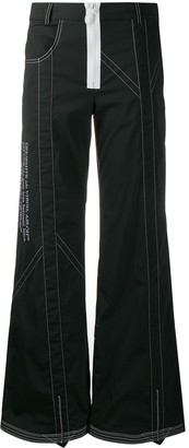 Off-White Contrast-Stitch Wide-Leg Trousers