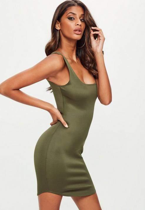 Missguided Khaki Scuba Square Neck Bodycon Dress