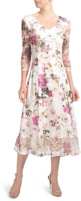 Komarov Charmeuse & Lace A-Line Dress
