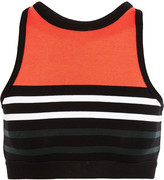 Alexander Wang Cropped striped stretch cotton-jersey sports bra