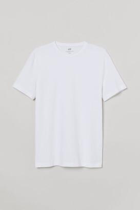 H&M Slim Fit Round-neck T-shirt - White