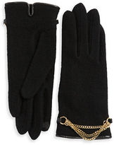 Portolano Chain-Accented Wool-Blend Gloves
