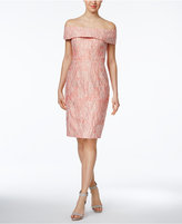Calvin Klein Off-The-Shoulder Brocade Sheath Dress