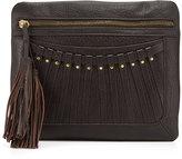 Cynthia Vincent Bitten Leather Tassel Clutch Bag, Brown