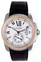 Cartier Calibre de W7100039 Stainless Steel/18K Rose Gold & Black Strap Automatic 42mm Mens Watch