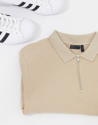 ASOS DESIGN long sleeve sleeve polo in waffle with zip in beige