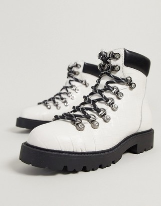 Kg Kurt Geiger KG by Kurt Geiger timmy hiker lace up ankle boots in white leather