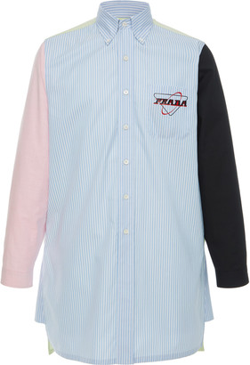 Prada Colorblock Logo Cotton Shirt