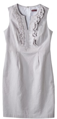 Merona Women's Seersucker Ruffle Bodice Dress - Skyline Grey/Fresh White