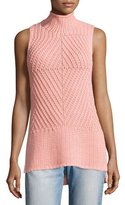 Alice + Olivia Abbot Sleeveless High-Low Mock-Neck Sweater, Light Pink