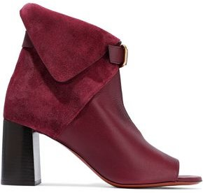 Chloé Buckled Suede And Leather Ankle Boots