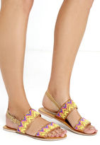 Qupid Rio de Janeiro Tan Beaded Flat Sandals