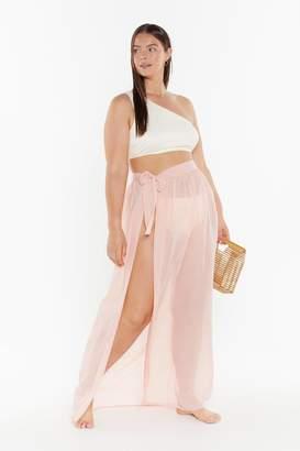 Nasty Gal Womens MS Tie Side Chiffon Maxi Beach Skirt - Beige - 22