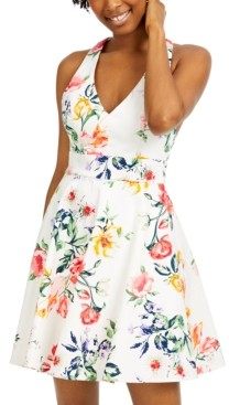 City Studios Juniors' Bow-Back Fit & Flare Dress