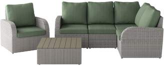 Corliving Brisbane 6-Piece Weather-Resistant Corner Sectional Square Coffee Table Set