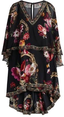 Camilla Floral Silk Mirror Mirror High-Low Dress