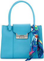 Love Moschino Saffiano Faux-Leather Satchel with Scarf, Light Blue