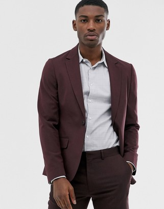 ASOS DESIGN skinny suit jacket in dark burgundy