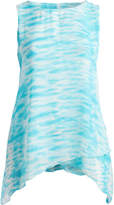 Seven Karat Women's Blouses Aqua - Aqua Abstract Sidetail Sleeveless Top - Plus
