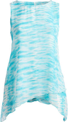 Seven Karat Women's Blouses Aqua - Aqua Abstract Sidetail Sleeveless Top - Plus