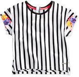 Sean John Floral-Sleeve Cotton Striped Top, Big Girls (7-16)