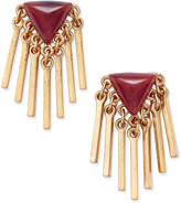 INC International Concepts Gold-Tone Red Stone Fringe Post Earrings, Only at Macy's