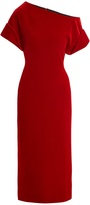 Christopher Kane One-shoulder stretch-velvet midi dress