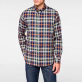 Paul Smith Men's Navy, Orange And Green Cotton Check Button-Down Shirt