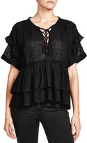 The Kooples Embroidered Lace-Up Shirt