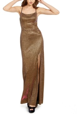 Blondie Nites Juniors' Metallic Strappy-Back Gown