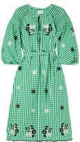 Innika Choo Smocked Embroidered Gingham Cotton Dress - Green