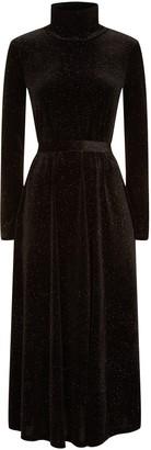 Traffic People Broken Strings Long Sleeve Midi Dress In Black Velvet