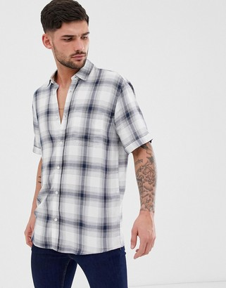 ONLY & SONS short sleeved checked shirt-Blue