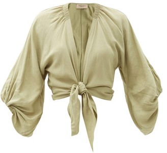 Adriana Degreas Knotted-front Cropped Linen-blend Blouse - Light Green